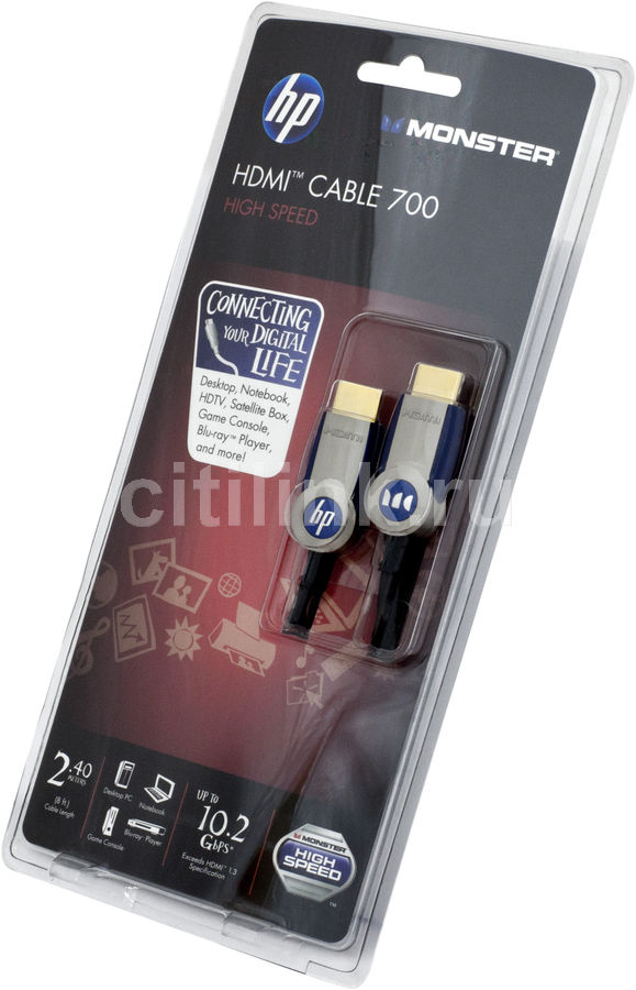 Кабель аудио-видео MONSTER 122305,  HDMI (m)  -  HDMI (m) ,  ver 1.3, 2.4м, серый