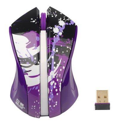 Мышь G-CUBE Paint Splash G9PS-310V оптическая беспроводная USB, фиолетовый и рисунок