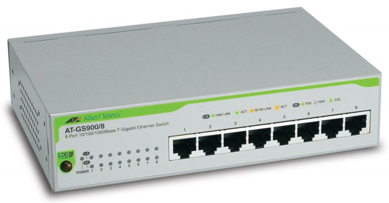 Коммутатор Allied Telesis AT-GS950/10PS-50 8 портов 10/100/1000Mbps PoE+/SFP