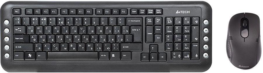 Комплект (клавиатура+мышь) A4 7200N, USB, беспроводной