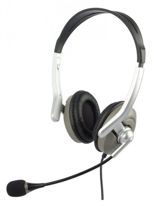 Наушники с микрофоном OKLICK HS-M146V,  накладные, серебристый  / серый