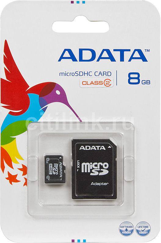 Карта памяти microSDHC A-DATA 8 ГБ, Class 2, 1 шт.