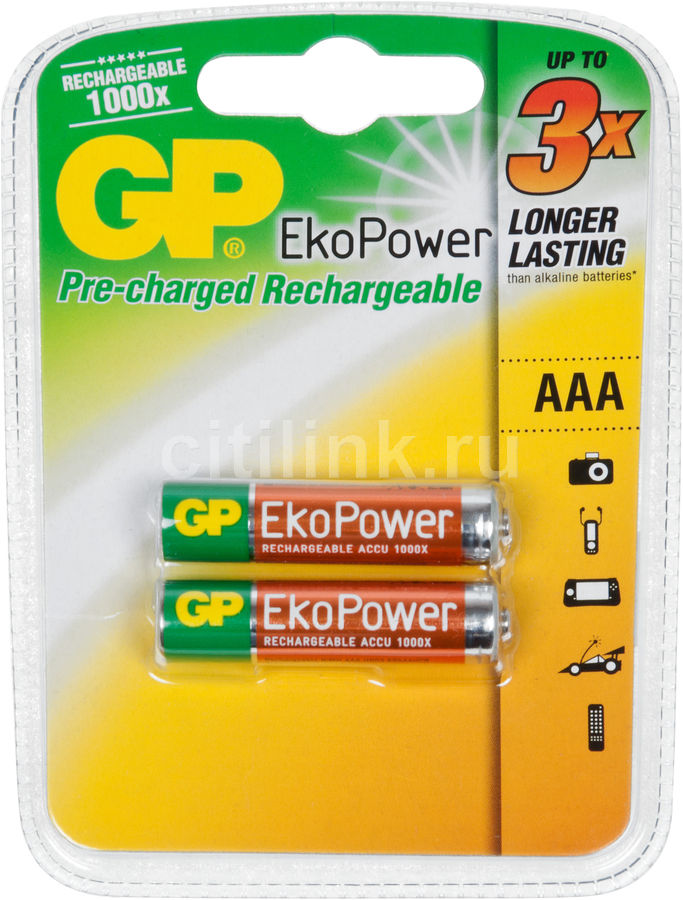Аккумулятор GP EkoPower GP60AAAHCBEP-CR2,  2 шт. AAA,  630мAч