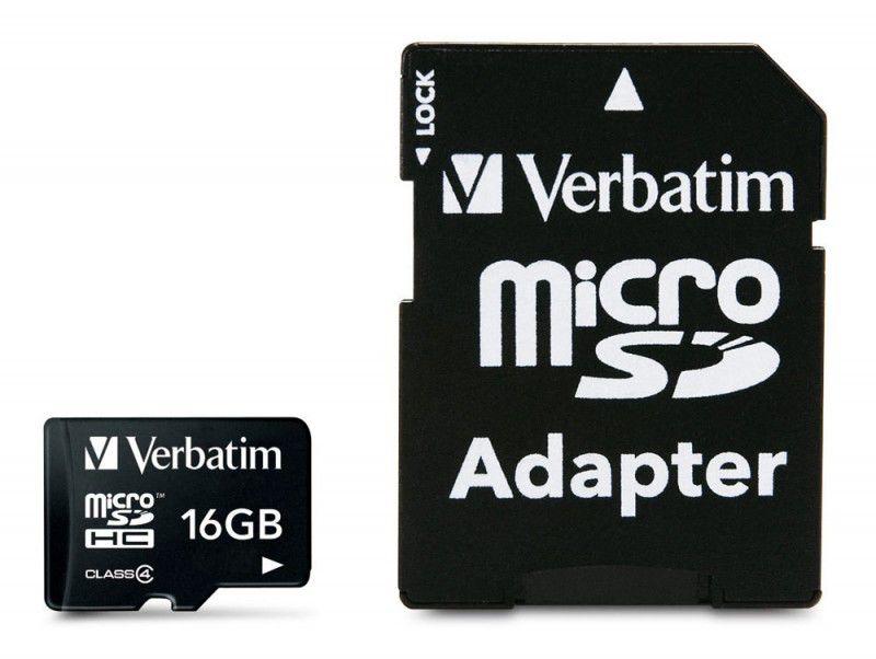 Карта памяти microSDHC VERBATIM 16 ГБ, Class 4, 43968,  1 шт., переходник SD