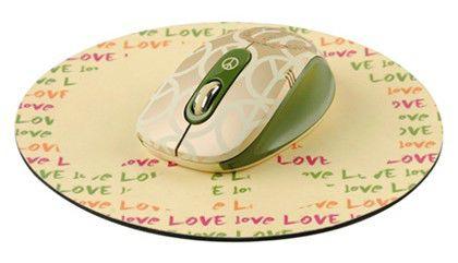 Мышь G-CUBE So Happy Together G7MH-6020P оптическая беспроводная USB, золотистый и зеленый