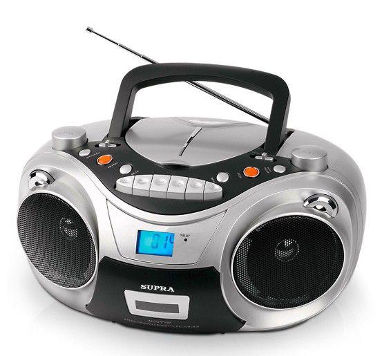 Аудиомагнитола SUPRA SR-CD125U,  серебристый