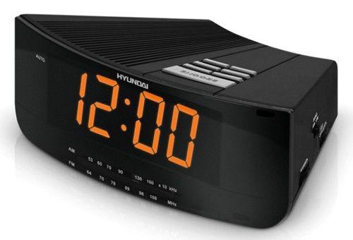 Радиобудильник HYUNDAI H-1527, оранжевая подсветка,  черный
