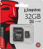 Карта памяти microSDHC KINGSTON 32 ГБ, Class 10, SDC10/32GB,  1 шт., переходник SD вид 1