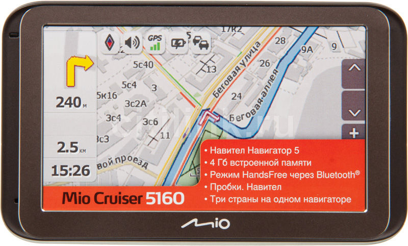 "GPS навигатор MIO Mio Cruiser 5160,  5"",  авто, 4Гб, Navitel 5,  черный"