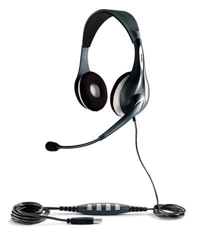 Наушники с микрофоном JABRA CHAT - FOR PC,  накладные, серебристый  / черный [100-55500000-40]