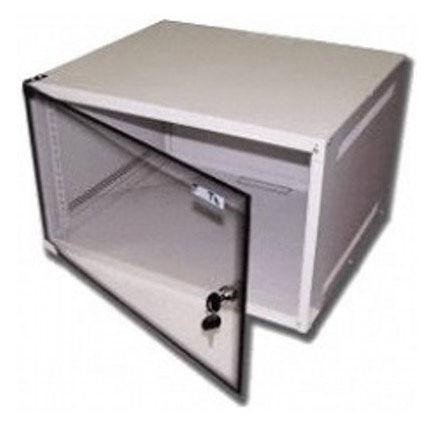 Шкаф настенный Lanmaster Lite (TWT-CBWL-4U-6X4 ) 4U 600x450мм пер.дв.стекл несъемные бок.пан. 30кг с