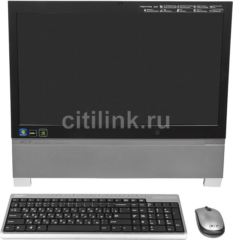 Моноблок ACER Aspire Z5101, AMD Athlon II X4 620e, 4Гб, 1Тб, nVIDIA GeForce GT530 - 2048 Мб, DVD-RW, Windows 7 Home Premium, серебристый [pw.sewe2.082]