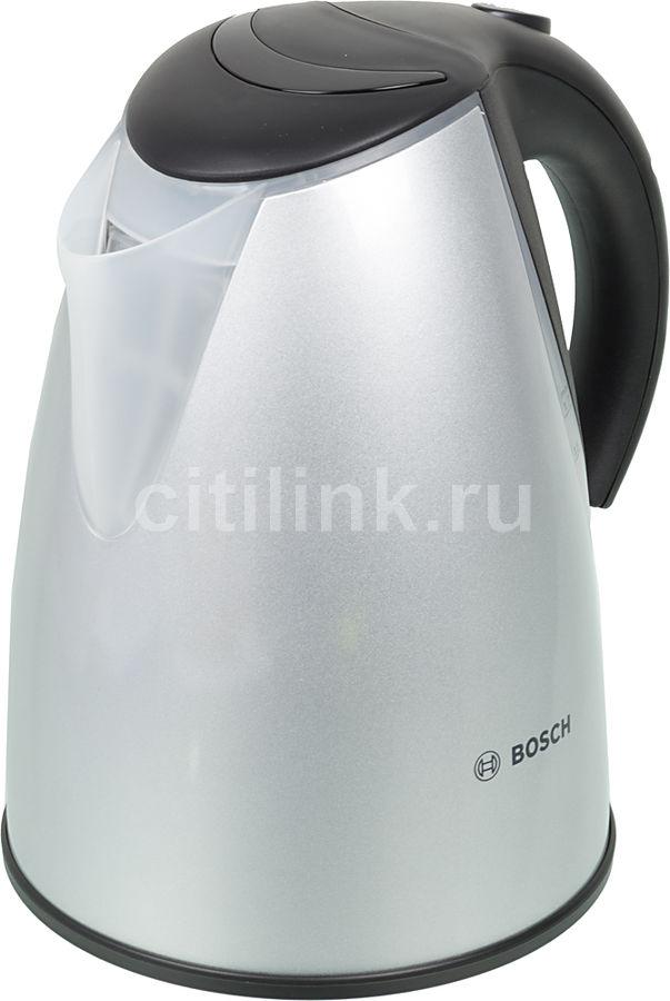 Чайник электрический BOSCH TWK7706, 2200Вт, серебристый и черный