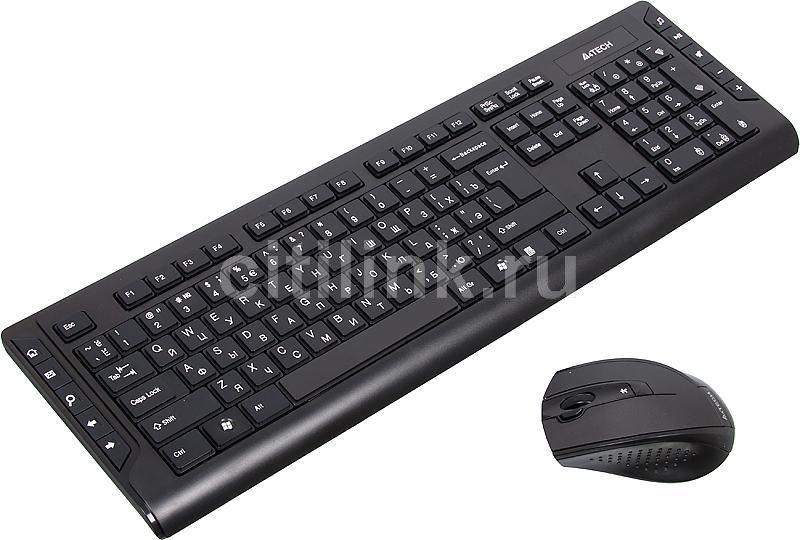 Комплект (клавиатура+мышь) A4 8200F, USB, беспроводной, черный