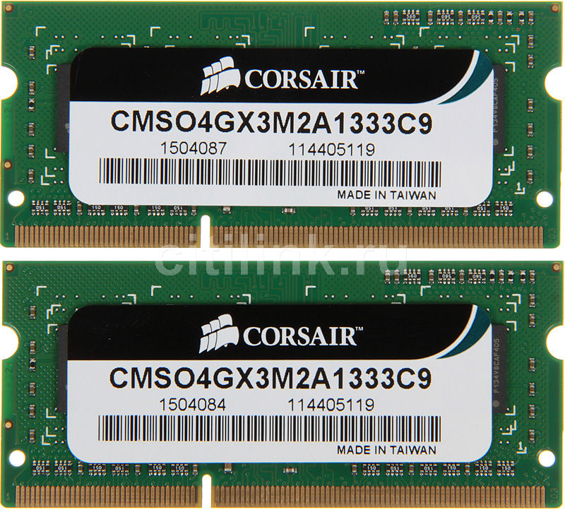 Модуль памяти CORSAIR CMSO4GX3M2A1333C9 DDR3 -  2x 2Гб 1333, SO-DIMM,  Ret