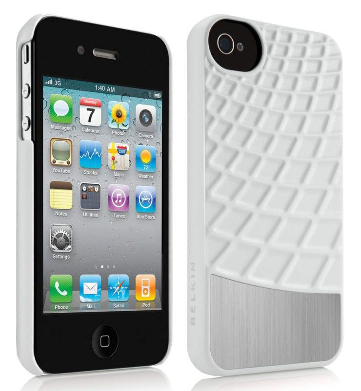 Чехол (клип-кейс) BELKIN Waffle F8Z864cwC00, для Apple iPhone 4/4S, белый