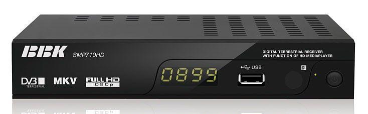 Ресивер DVB-T BBK SMP710HD,  черный