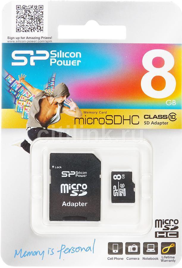 Карта памяти microSDHC SILICON POWER 8 ГБ, Class 10, SP008GBSTH010V10-SP,  1 шт., переходник SD