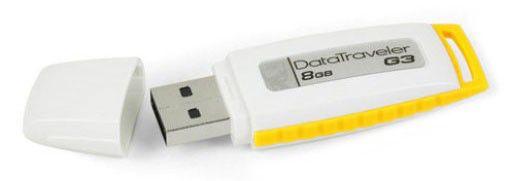 Флешка USB KINGSTON DataTraveler G3 8Гб, USB2.0, белый и желтый [dtig3/8gbcl]