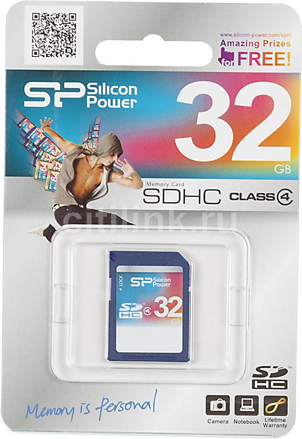Карта памяти SDHC SILICON POWER 32 ГБ, Class 4, SP032GBSDH004V10,  1 шт.