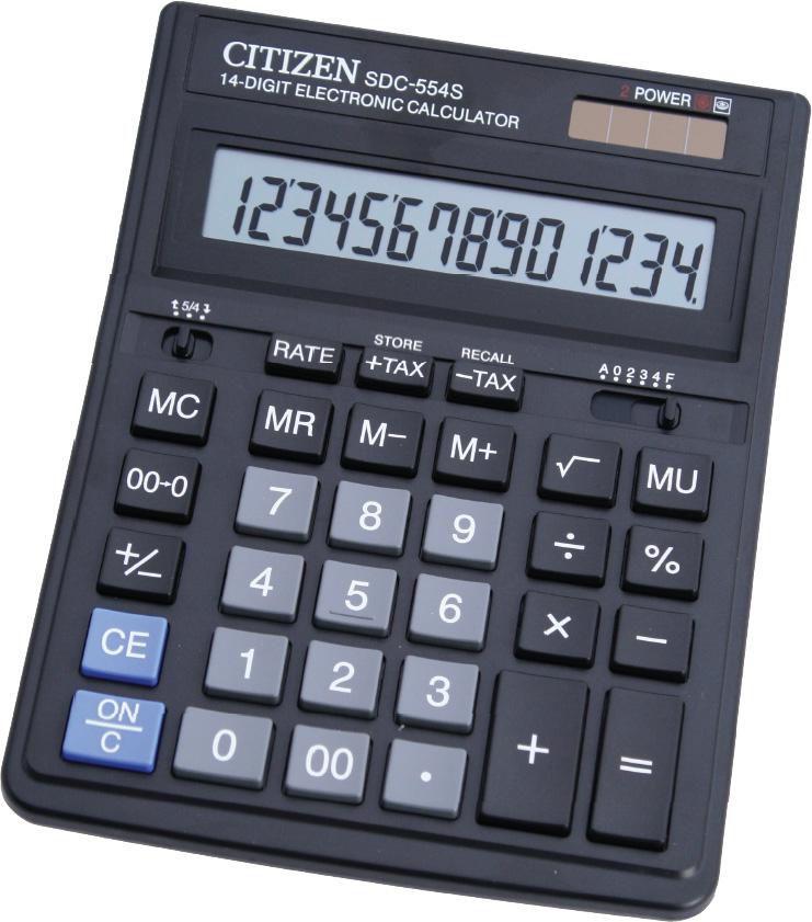 Калькулятор CITIZEN SDC-554 S,  14-разрядный, черный
