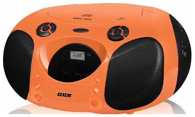 Аудиомагнитола BBK BX110U,  оранжевый и черный