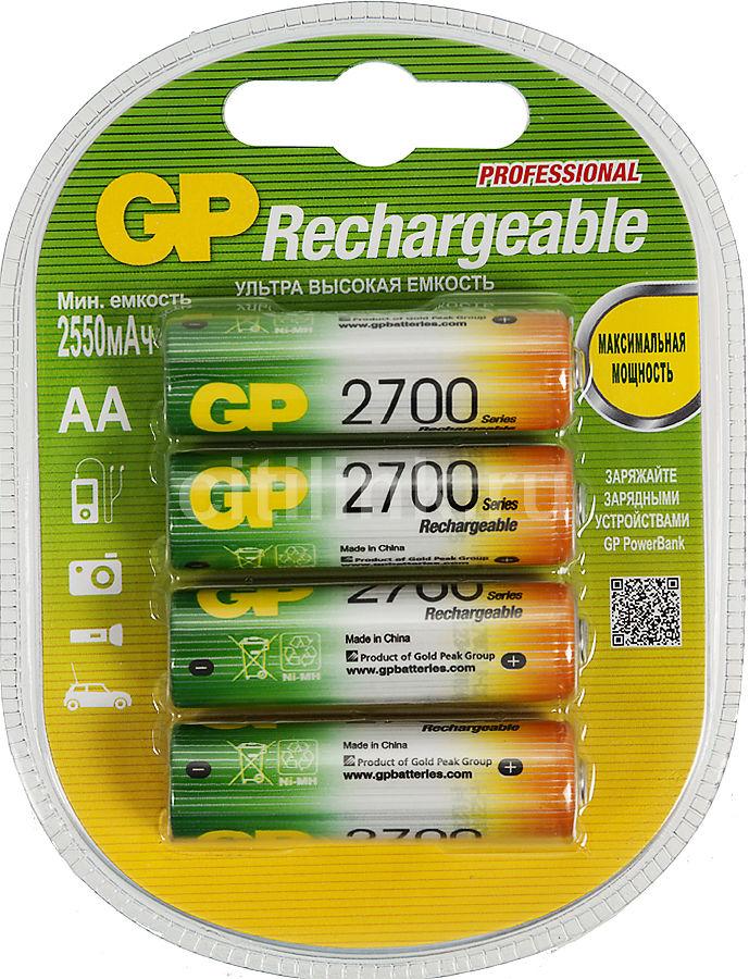 Аккумулятор GP 270AAHC,  4 шт. AA,  2700мAч
