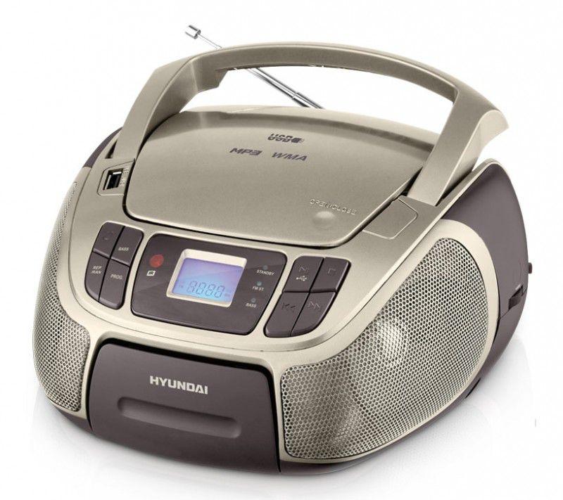 Аудиомагнитола HYUNDAI H-1444,  серебристый и черный