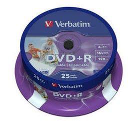Оптический диск DVD+R VERBATIM 4.7Гб 16x, 25шт., cake box, printable [43539]