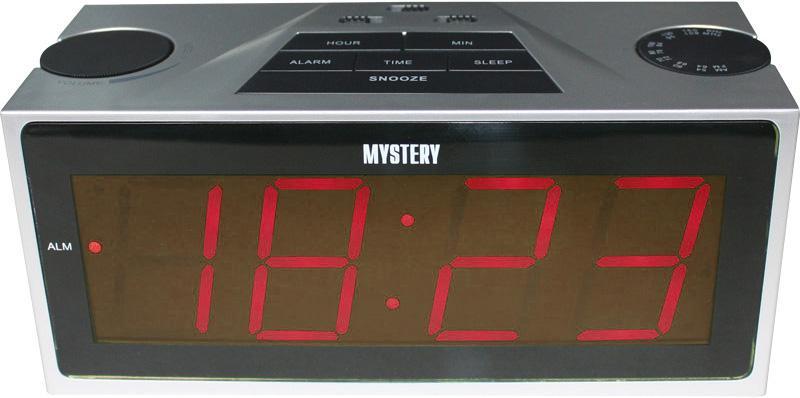 Радиобудильник MYSTERY MCR-62, красная подсветка,  серебристый