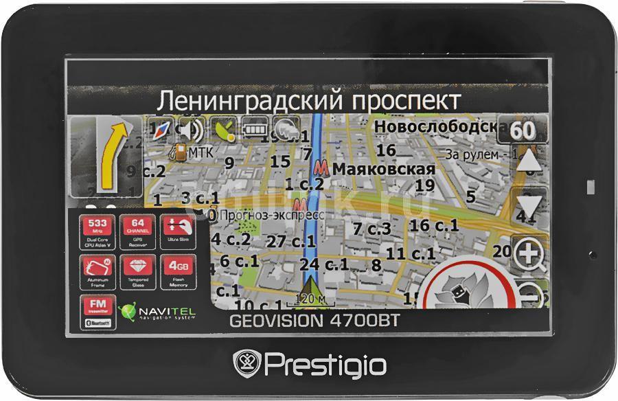 GPS навигатор PRESTIGIO GeoVision 4700BT,  4.3