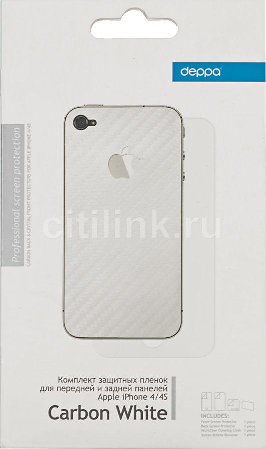 Защитная пленка DEPPA Carbon White  для Apple iPhone 4/4S,  прозрачная [61169]