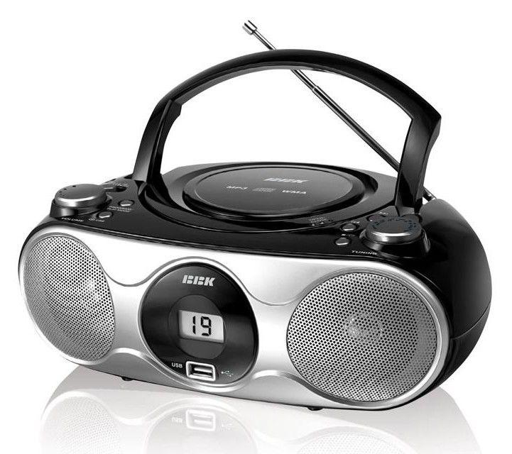 Аудиомагнитола BBK BX103U,  черный и серебристый