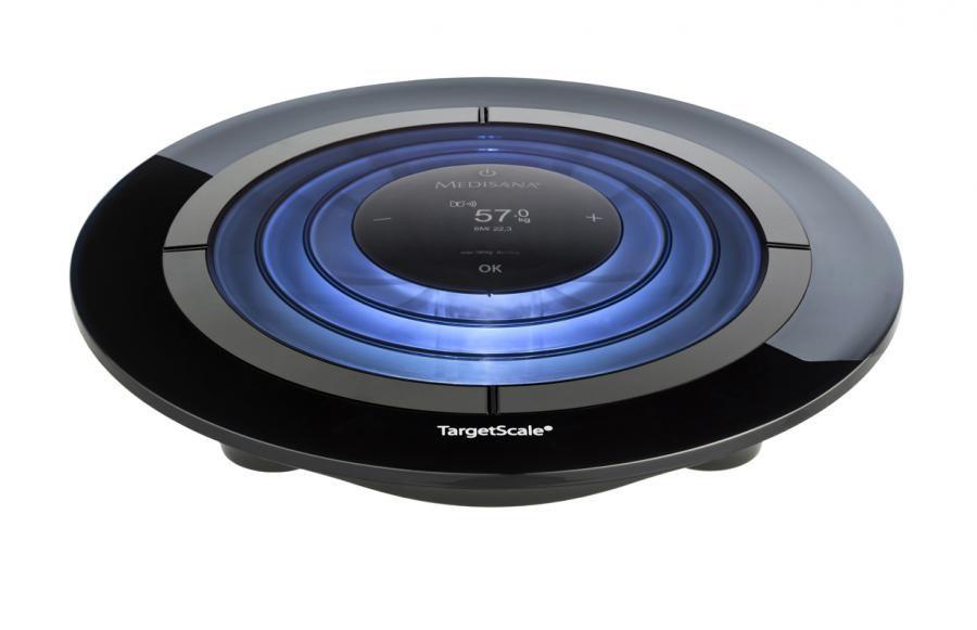 Напольные весы MEDISANA Target Scale, до 180кг, цвет: черный/голубой [40417]