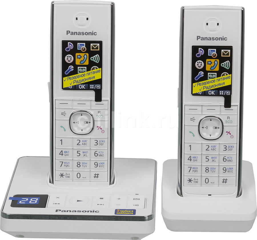 Радиотелефон PANASONIC KX-TG8562RUW,  белый