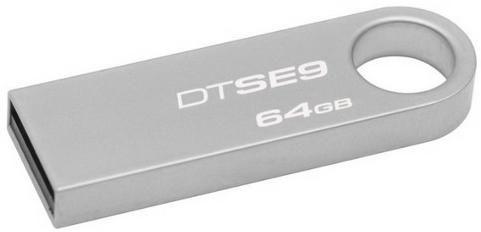 Флешка USB KINGSTON DataTraveler SE9 64Гб, USB2.0, серебристый [dtse9h/64gb-yan]