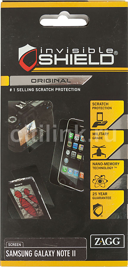 Защитная пленка для экрана ZAGG InvisibleSHIELD  для Samsung Galaxy Note II,  1 шт [samgalnottwos]