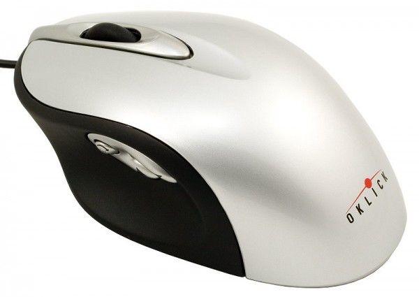 Мышь OKLICK 765L лазерная проводная USB, PS/2, серебристый и черный