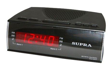 Радиобудильник SUPRA SA-38FM, красная подсветка,  черный