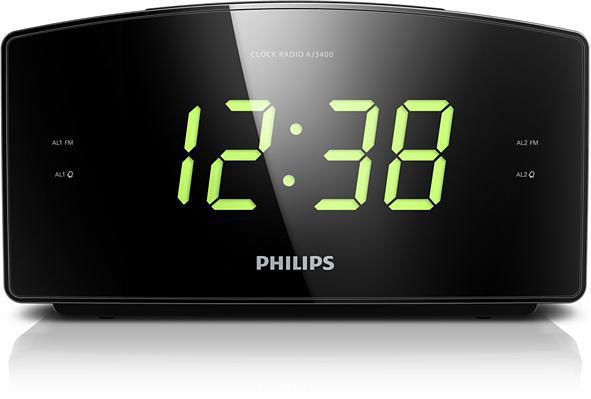 Радиобудильник PHILIPS AJ3400/12, зеленая подсветка,  черный