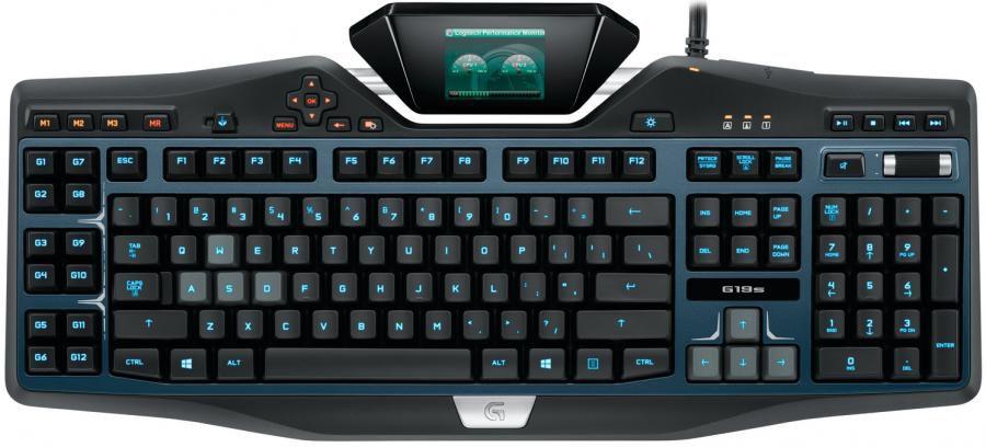 Клавиатура LOGITECH G19S,  USB, черный + синий [920-004991]