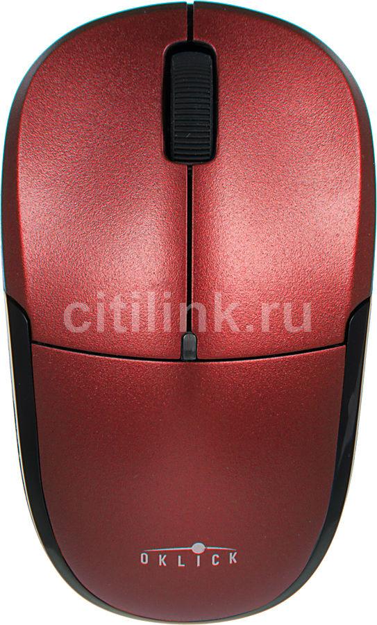 Мышь OKLICK 575SW оптическая беспроводная USB, красный и черный