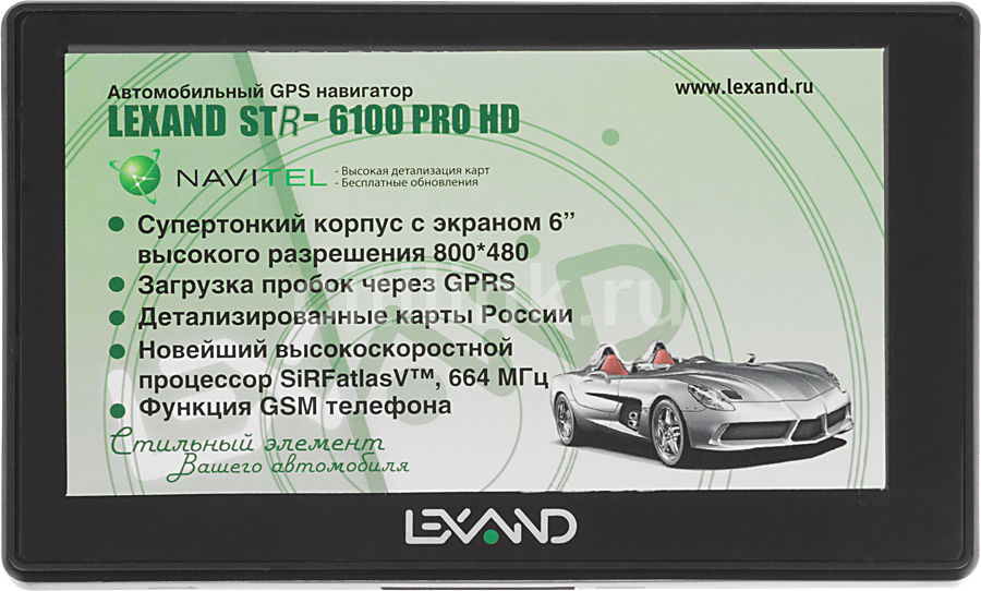 "GPS навигатор LEXAND STR-6100PRO HD,  6"",  авто, 4Гб, Navitel 5,  черный"