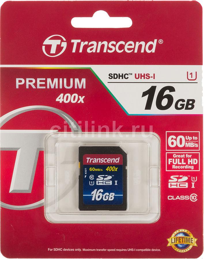 Карта памяти SDHC UHS-I TRANSCEND Premium 16 ГБ, 60 МБ/с, Class 10, TS16GSDU1,  1 шт.