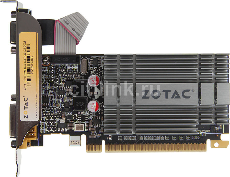 Видеокарта ZOTAC GeForce 210,  1Гб, DDR3, Low Profile,  oem [zt-20313-10b]