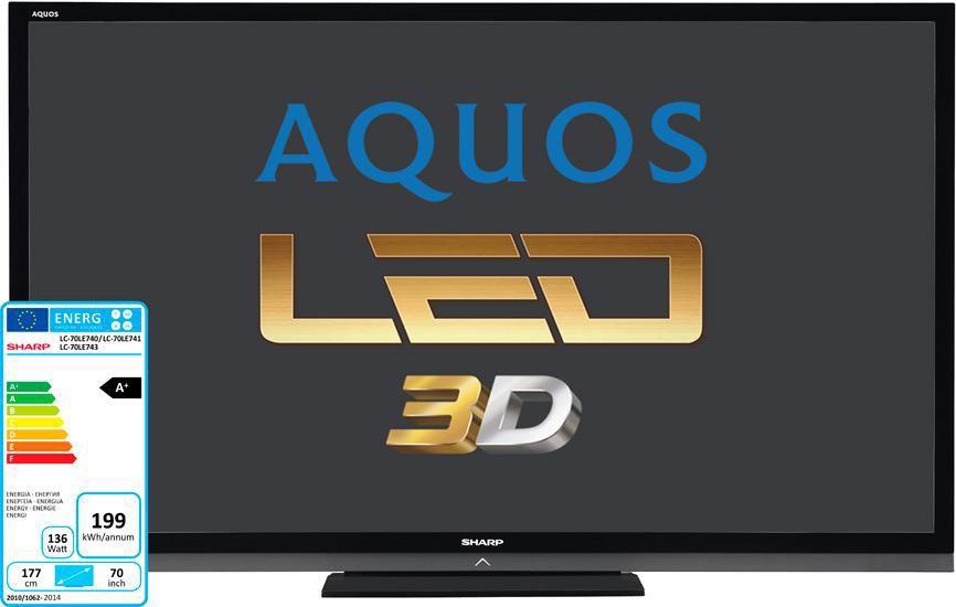 """LED телевизор SHARP Aquos LC70LE741ERU + магнитола  """"R"""", 70"""", 3D,  FULL HD (1080p),  черный"""