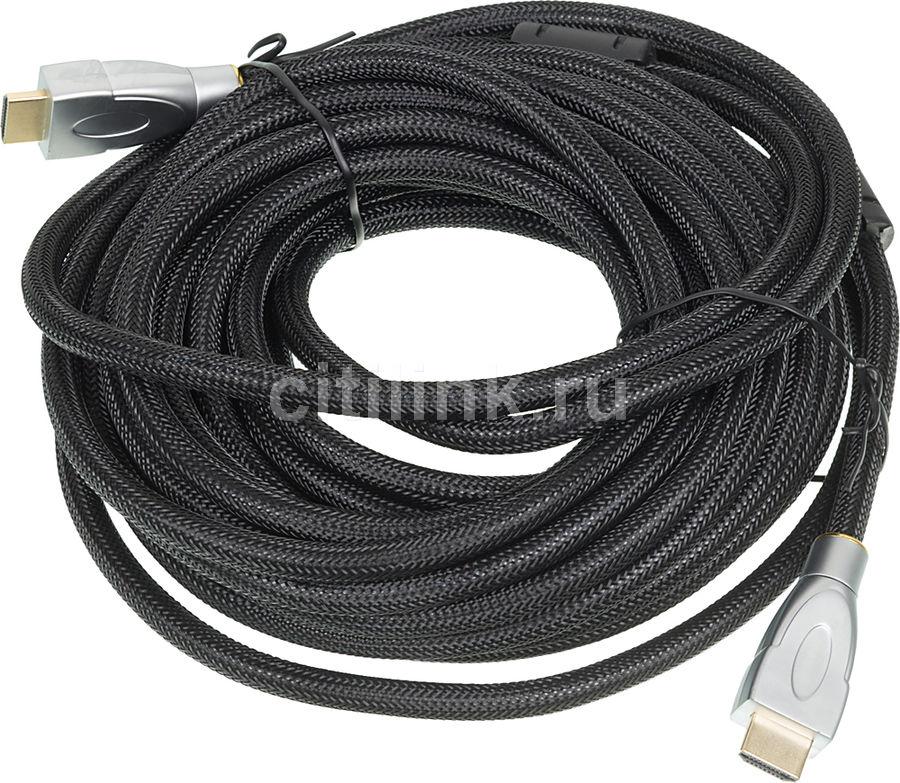 Кабель аудио-видео  HDMI (m)  -  HDMI (m) ,  ver 1.4, 10м, GOLD ф/фильтр,  черный