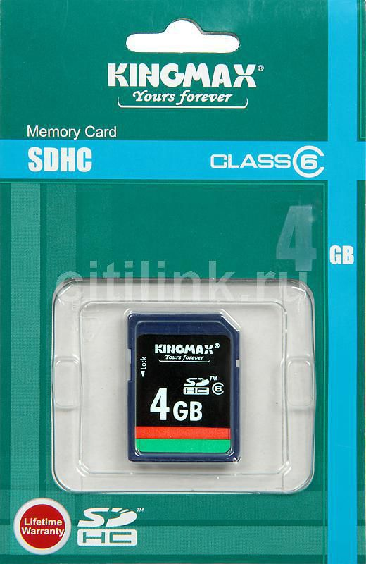 Карта памяти SDHC KINGMAX 4 ГБ, Class 6, 1 шт.