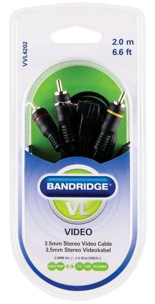 Кабель аудио BANDRIDGE VVL4202,  Jack 3.5 (m)  -  3хRCA (m) ,  2м