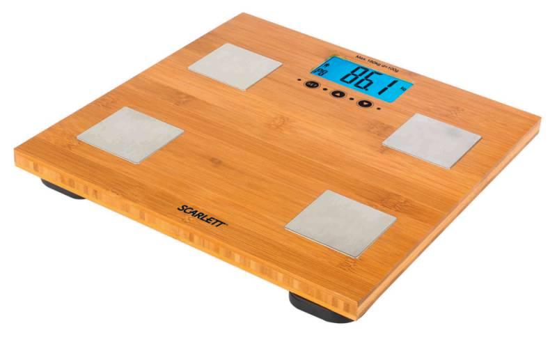 Напольные весы SCARLETT SC-2216, до 180кг, цвет: бамбук